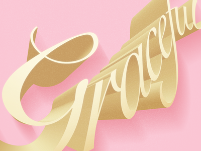 Graceful letters elegant happy 3d lettering pink graceful graphicdesign typography type photoshop illustrator