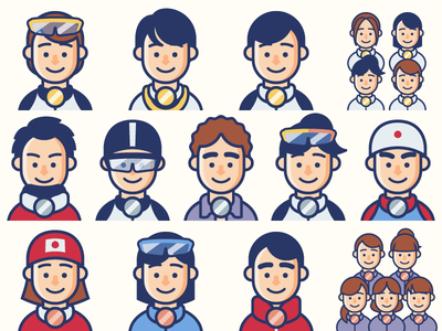Japanese Medallists at the Winter Olympics 2018 icon minimal geometric sports flat vector illustration simple character clean