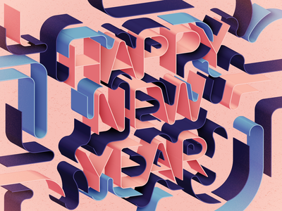 New Year Card 2019 line art coral vector typography type new year lettering graphic design geometry 3d colorful card