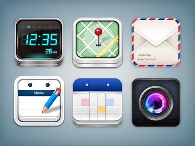 Icons icon map mail clock calendar camera illustrator