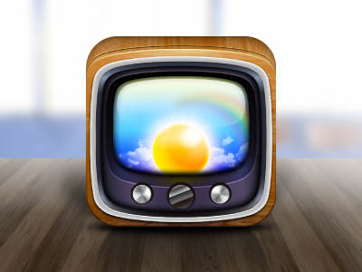 Weather News Icon illustrator icon app tv weather news switch wood sun rainbow sky table