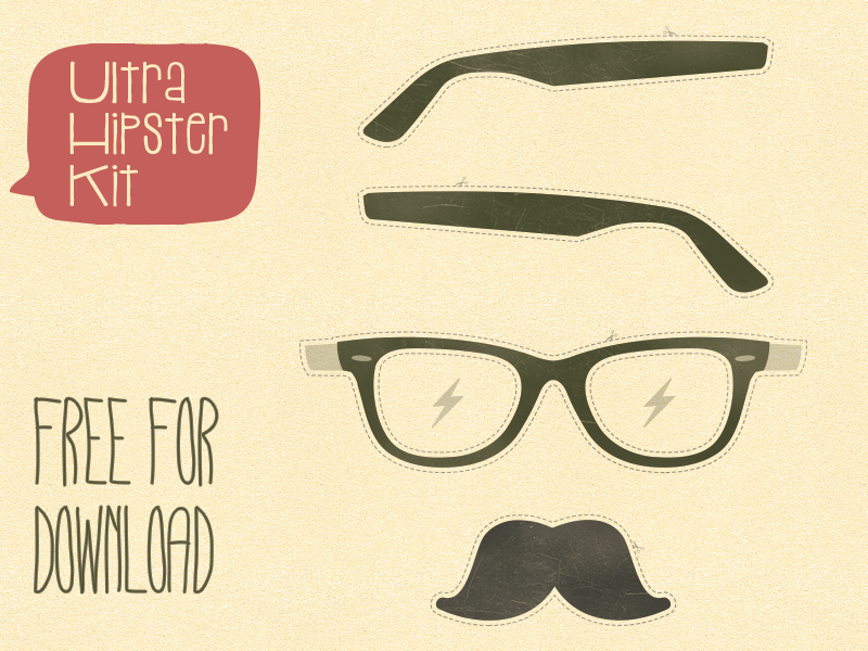 Hipster Kit aerolab argentina free hipster hipstekit kit mustache glasses thunder vector download psd illustration template cut-out cutout