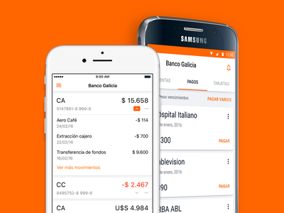 Banco Galicia Case Study - Mobile App Design sketch material design payment mobile banking case study ux ui android ios app