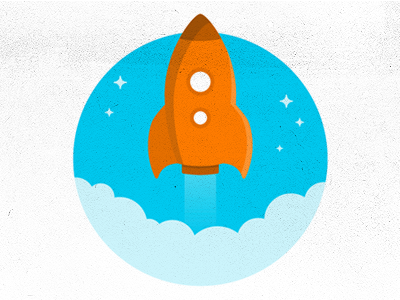 Rocket aerolab argentina rocket stars space cartoon blue clouds