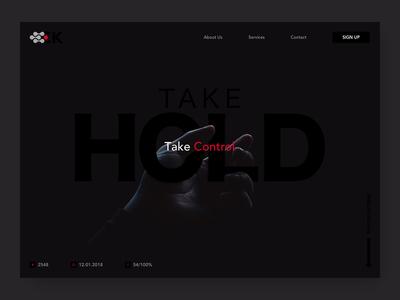 Hold UI sign up black typography website simple dark splash design ux interface ui app