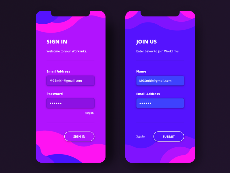 Sign In & Join UI by Matthew James Shea on Dribbble