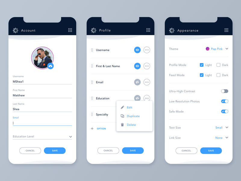 Daily UI Challenge #007 - Settings settings page settings light mode blue profile sketch type color user profile interface ux ui