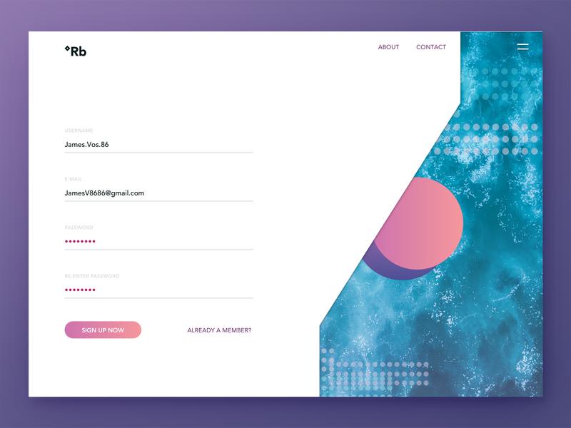 Vintage Sign Up UI landing page design porn teal purple sketch type sign in sign up design ux interface ui