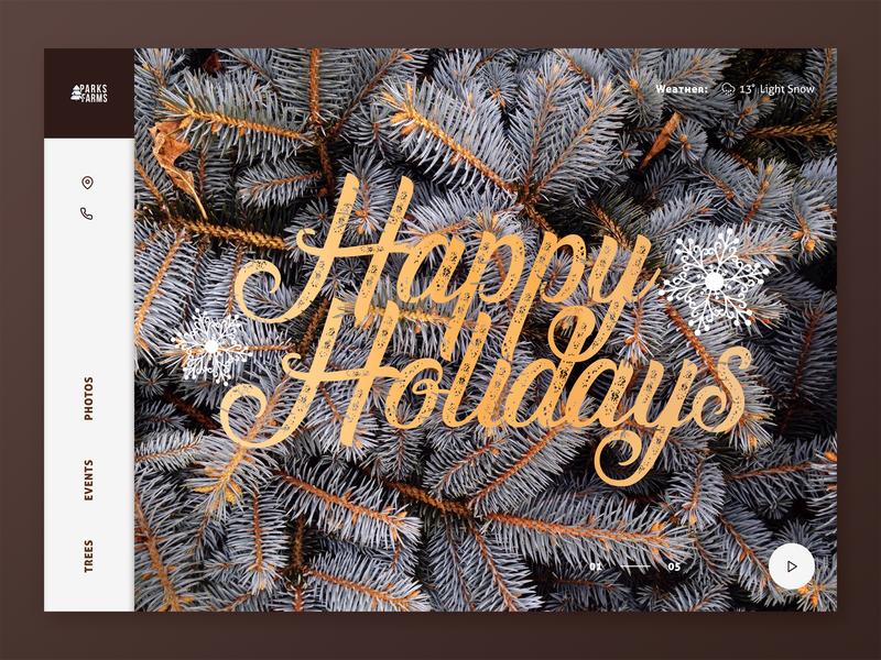 Holiday Tree Farm UI landing page design porn christmas tree sketch type minimal holiday design ux interface ui