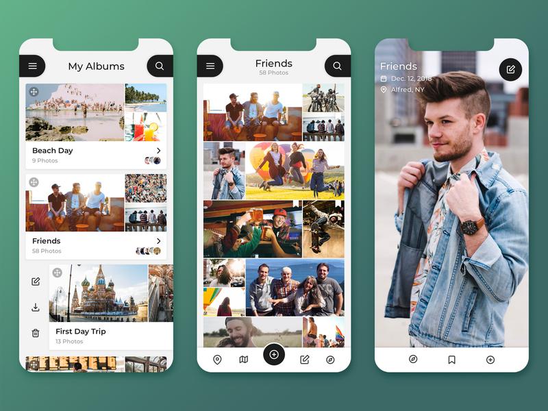 Photo Albums UI mobile app ios design sketch photos light mode photo album design ux interface ui app concept app