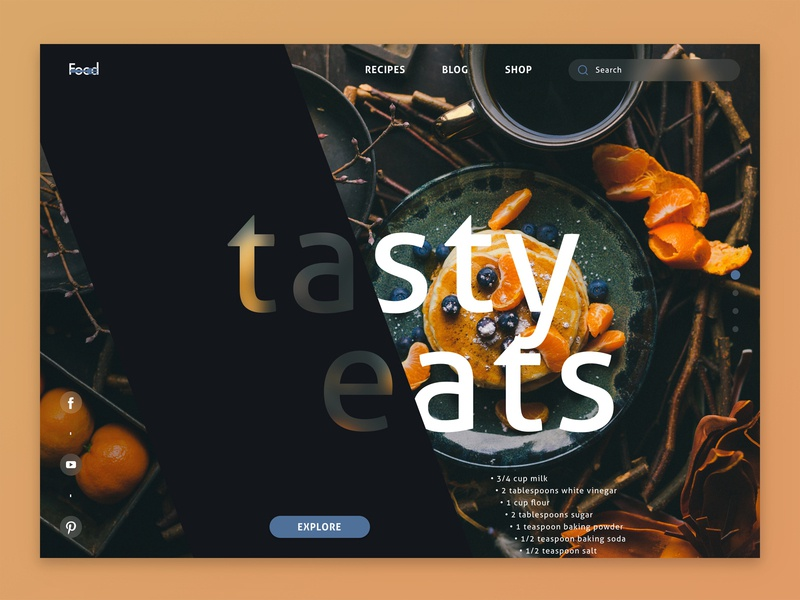 Food UI landing page design porn tasty food sketch app type minimal yummy design ux interface ui
