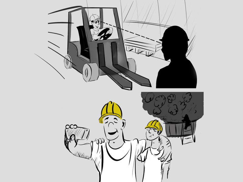 frames of a storyboard character drawing sketch storyboard