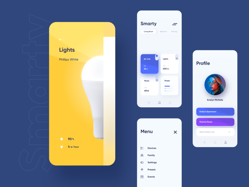 Smarty - smart home app concept cards invision studio concept light bulb ux ui mobile ui mobile app mobile smart home design system app design app