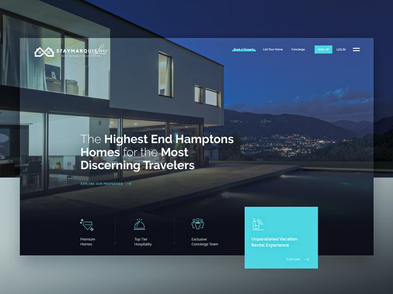 StayMarquis - Luxury Rentals Website design system ux ui airbnb rentals accomodation properties luxury landing page homepage responsive web design website web