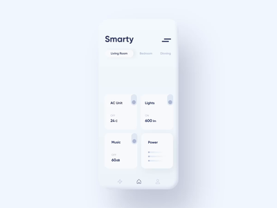 Smart Home Control - Mobile App clean dashboard light invisionstudio mobile app smart home animation design system ux ui