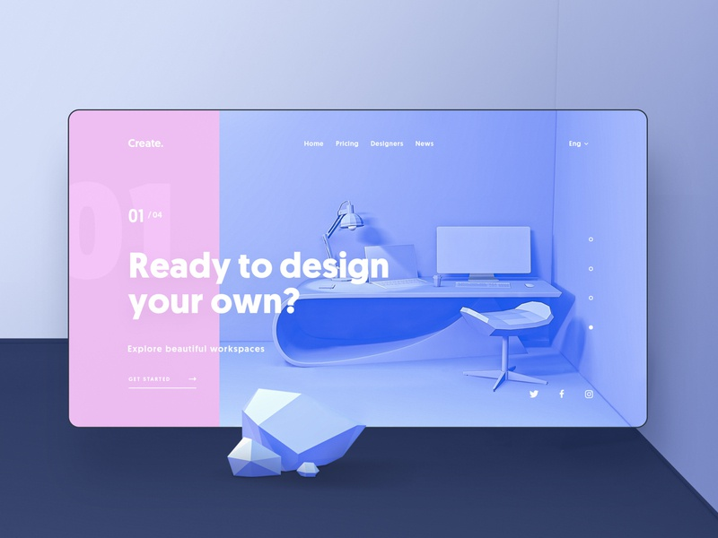 Create - Landing Page c4d homepage workspace concept interior landing page vectary 4d 3d ux ui design system