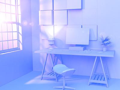 3D Workspace concept c4d 3d modeling illustration interior room vectary 4d 3d
