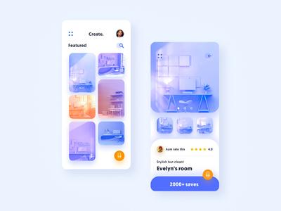 Create - Mobile App vectary concept ui illustration c4d 4d 3d interior app mobile design system