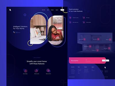 Intelligent Solutions web design website dark theme ux appliances smart home app smart home landing page interior concept ui design system