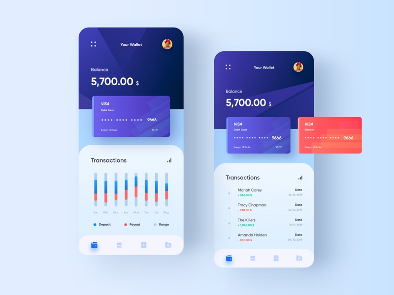 Banking App - Concept finance money wallet dashboard payment transaction concept design system mobile creditcard bank app ui
