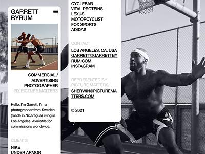 Garrett Byrum photographer web design typography