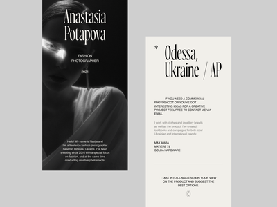 Anastasia Potapova photographer ui concept typography web design