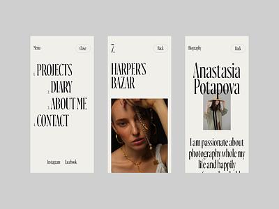 Anastasia Potapova mobile photographer ui concept typography web design