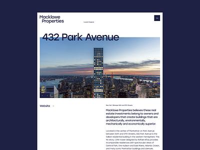 Macklowe Properties architecture web design typography concept