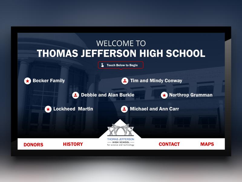 Thomas Jefferson High School Digital Signage students google css touch screen high school thomas jefferson digital signage