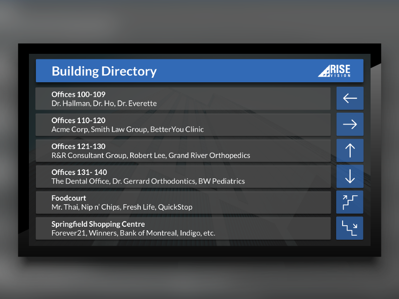 Wayfinding Template For Digital Signage Ux Html Css Design Directions Directory Building