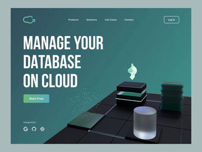 Database Management App webdesign 3d particle management cloud database data web design website simple site color web art flat product ux ui design