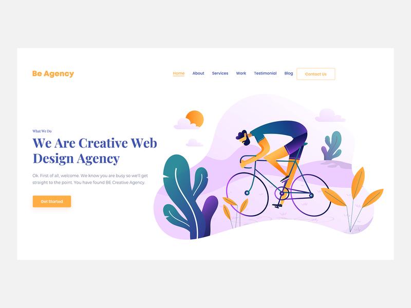 Agency Landing landing vector typography branding illustration website webdesign product art card site web flat ux ui design