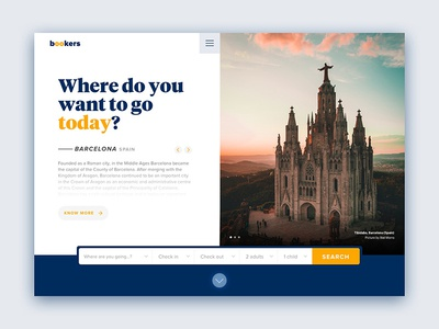 Bookers web hero travel concept ux ui website slides slideshow