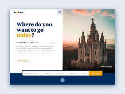 Bookers web hero travel concept ux ui website slides slideshow