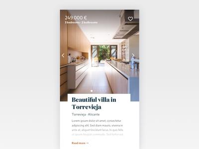 Real Estate Card app website real-estate ux ui design card