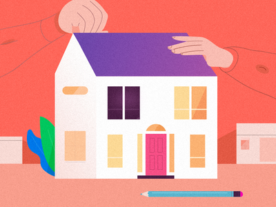 Illustration_build character pencil window creative ideal scene gradient home illustration build