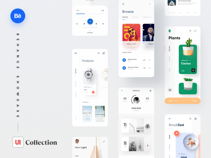Selected UI Collection simple music app web ui design cooking music shop store mobile app app design ui  ux website minimal clean ui