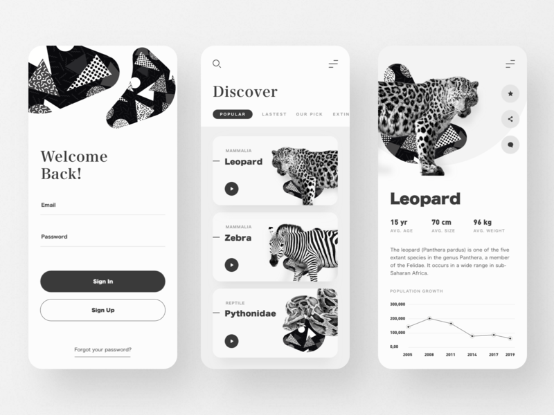 Animal Wiki App information wiki chart reading app welcome login mobile app discover application white black monochrome animals app design clean minimal ui  ux website ui