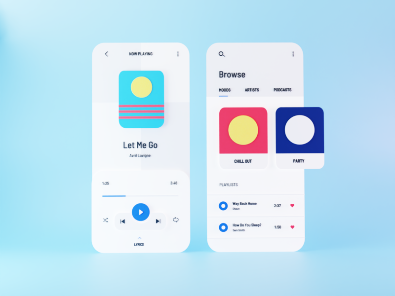 3D Music Player App music app playlist music player music 3d render 3d animation minimal design app ui  ux website clean ui