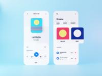 3D Music Player App music app playlist music player music 3d render 3d animation minimal design app ui  ux website clean ui