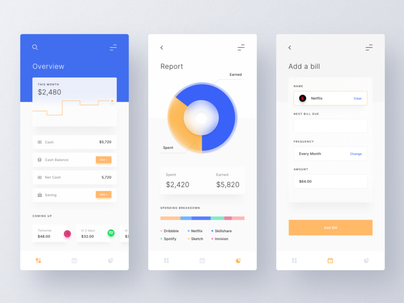 Budget and Expense Manager App mobile app money app form bill chart fluent design app design application fintech money finance app design minimal ui  ux ui clean