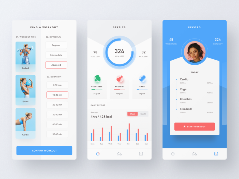 Fitness App kcal calories gym healthy fitness mobile app app design minimal ui  ux clean ui