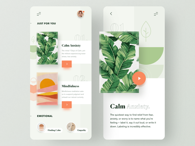 Meditation App emotional healthcare healthy mobile apps calm meditation mobile app app minimal ui  ux clean ui