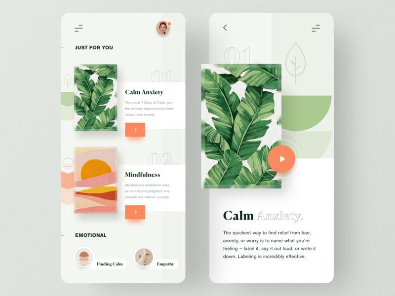 Meditation App emotional healthcare healthy mobile apps calm meditation mobile app app minimal ui  ux clean ui