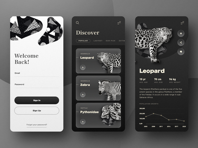 Animals Wiki Dark Version clean application sign up sign in information wiki discover chart black dark ui minimal ui ui  ux app design mobile app app animals