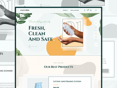 Cosmetic Website Concept branding ui  ux homepage store header design website minimal clean ui