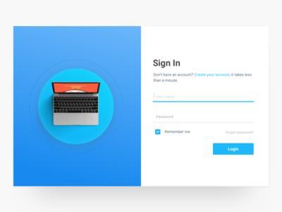 Sign In web up in sign register login interface clean gradient landingpage minimalist design