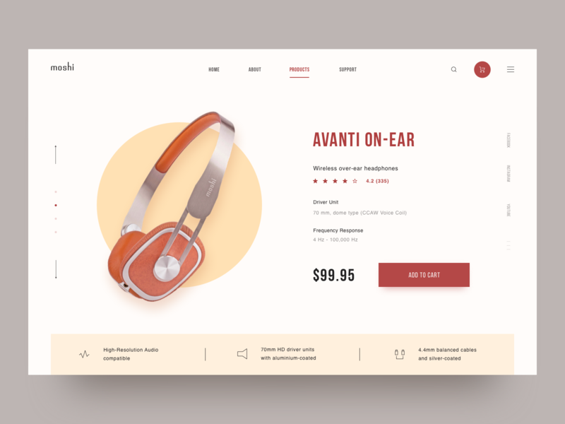 Moshi Headphone Shop cart e-comerce clean retro header product store shop headphone web minimalism design blue ui website