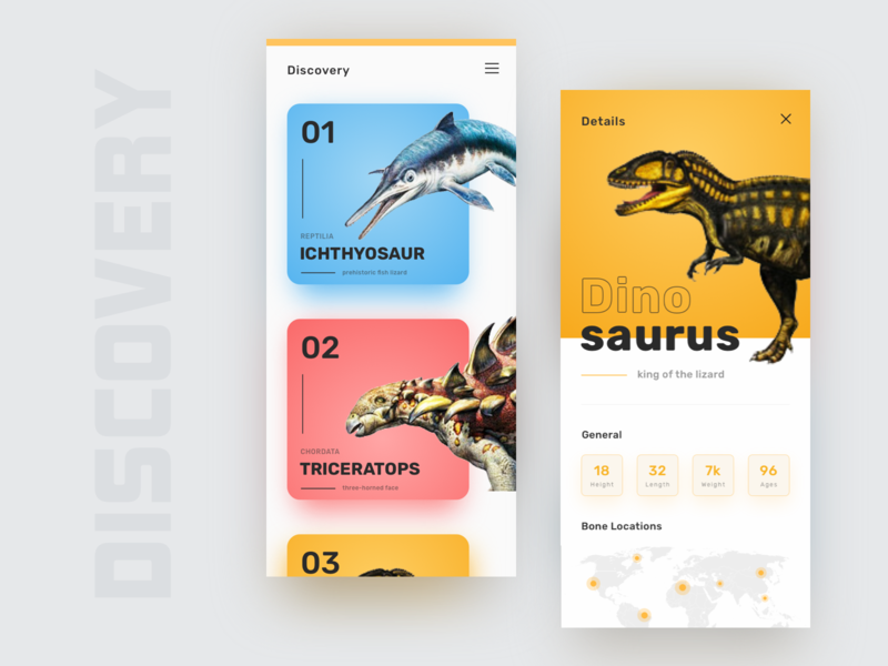 Discovery Dinosaurus App website ui  ux ui header education discover animals clean minimal dinosaur discovery app