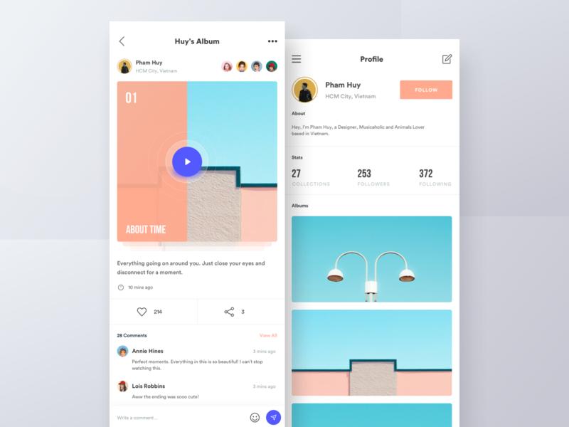 Social Media App profile news feed clean ui  ux illustration minimal design videos social travel photos application